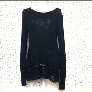Hollister Navy Blue Pullover Lace Trim